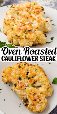 This Easy Oven Roasted Cauliflower Steak is a delicious, low carb, low calorie recipe. It is a tasty vegetarian entree that is perfect for a Meatless Monday. It is also a lovely, creative side dish to add to any meal! Steak Sides, Steak Side Dishes, Vegetable Side Dishes, Vegetable Recipes, Vegetarian Entrees, Tasty Vegetarian Recipes, Healthy Recipes, Vegetarian Side Dishes, Diabetic Recipes