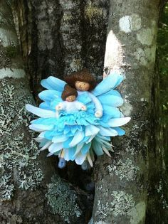 Blue and white flower fairy with fairy baby by LightofdayCreations, $13.50