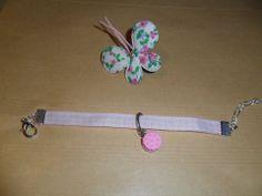 Bracelet ruban vichy rose tendre : Bracelet par chris-crea