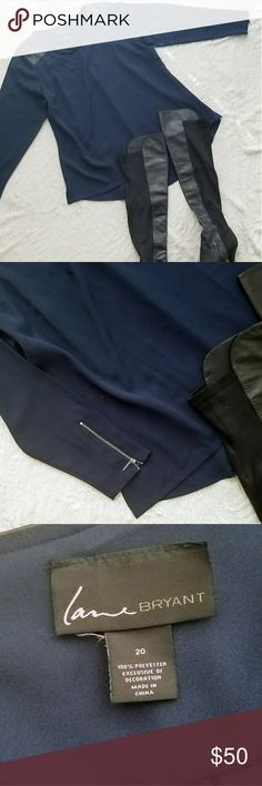 LANE BRYANT  Tunic LANE BRYANT  navy tunic Faux Leather shoulder detail  Zipper sleeve detail Lane Bryant Tops