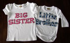 Matching Sibling TShirts Big Brother Big Sister by LilyStitches, $42.00
