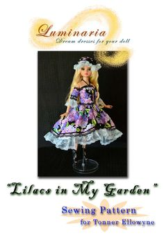 "16"" Tonner Ellowyne Wilde Clothes Pattern in PDF To Make ""Lilacs in My Garden"" Outfit, Dress by Luminaria."