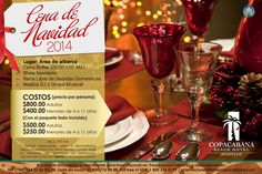 Cop@News informa: Ven y celebra con nosotros de nuestra Gran Cena de Navidad 2014 al estilo Copacabana!! #alberca #buffet #shownavideño #grupoydj reserva ya!  LSC 01800.710.98.88 | reservaciones@hotelcopacabana.com