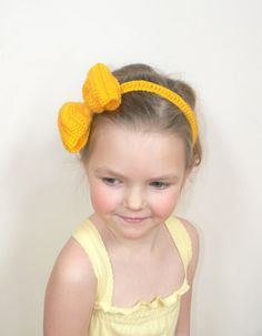Hair Bow Crochet Head Band Girls Women Spring Accessory by 2mice, $10.00