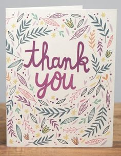 Thank you illustrated drawing thank you card pastels floral cactus ...