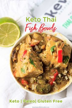 Keto Thai Fish Bowls are low carb, paleo, gluten-free, grain-free fish and veggies in a Thai coconut sauce over cauliflower rice. #eatcleanlivehappy #kevinsnaturalfoods #kevinsrecipechallenge Primal Recipes, Sugar Free Recipes, Low Carb Recipes, Healthy Recipes, Fish Recipes, Real Food Recipes, Asian Recipes, Fish Bowl Recipe, Coconut Sauce