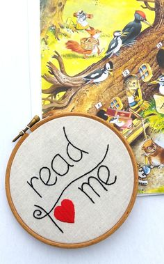 Read to Me Nursery Wall Decor Embroidery Hoop by RedWorkStitches