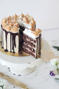 // S~mores Layered Cake #treats #cakes