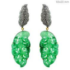 Jade Carved 14 K Gold Diamond Pave Dangle Earrings Sterling Silver Fine Jewelry #raj_jewels
