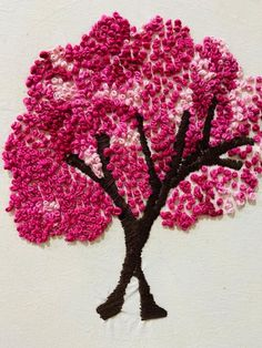 3d Pictures, Colorful Pictures, Modern Embroidery, Diy Embroidery, 3d Wall Art, Cherry Blossom Tree, Screenprinting, Crossstitch, Silk Ribbon