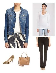This look is very street chic, and has a downtown edge. Easy to take individual pieces and style them a multitude of ways as they are all core essentials. The statement items here are the leopard print pumps by Loeffler Randall, and the leg-lengthening black jean.
