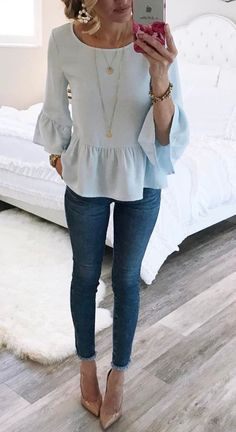 Blue ruffle top.