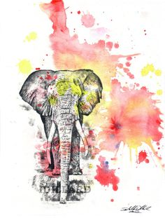 Elephant Art Animal Watercolor Painting  8 X 10 in by idillard, $18.00