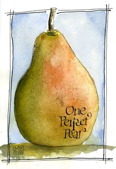 Items similar to One Perfect Pear Original Watercolor on Etsy. , via Etsy.