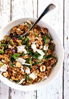 Farro Salad with Green Olives Hazelnuts and Raisins - a healthy and delicious recipe that's a snap to make!