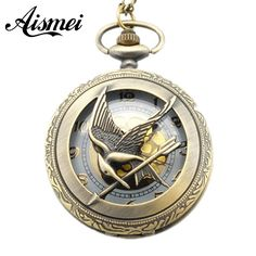 Fashion Jewelry the hunger game Retro Necklace Pocket watch 2017 new russia hunger games pocket watch bronze vintage cool bird