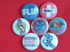 "Old school skateboad  set of 7 Pinback button,badges size 1"",1.25"" or 2.25"" pins #wtnabrand"