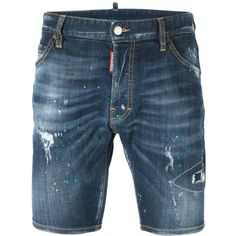 dsquared2 Denim Shorts ($525) ❤ liked on Polyvore featuring men's fashion, men's clothing and men's shorts