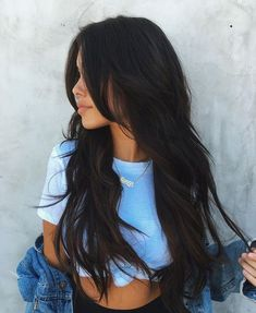 Hair Color Trends 2018 Best for 2018 afmunet hair color ideas for dark hair 2018 - Hair Color Ideas Hair Color For Black Hair, Cool Hair Color, Black Hair Layers, Layers For Long Hair, Layered Long Hair, Wavy Black Hair, Long Layerd Hair, Layered Haircuts For Long Hair, Brunette Long Layers