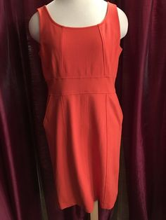 Ann Taylor Tangerine Sleeveless Dress Size 10 With Side Pockets Machine Wash #AnnTaylor #SummerDress #Casual