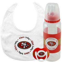 San Francisco 49ers NFL Baby Gift Set by Caseys. Save 62 Off!. $19.95. With the combination of a bib bottle and pacifier this set covers all the essential needs of every little fan.The bib is made of 100% cotton features an embroidered team logo a velcro closure for easy use and is machine washable.The 9 ounce bottle is decorated with the team logo and colors features a silicone nipple and has the measuring scale on the back.The pacifier features the team logo and colors has a soft cl...
