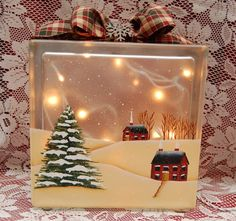 Glass Block ~Cinnamon stick crafts by aimee Painted Glass Blocks, Decorative Glass Blocks, Lighted Glass Blocks, Christmas Glass Blocks, Christmas Art, Christmas Decorations, Christmas Ornaments, Xmas, Glass Cube