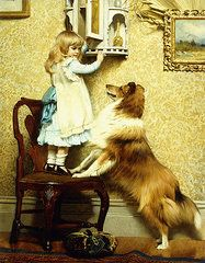 Barber Paintings - Little Girl and her Sheltie  by Charles Burton Barber