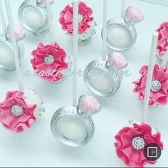 Engagement ring cake pops and flower cake pops