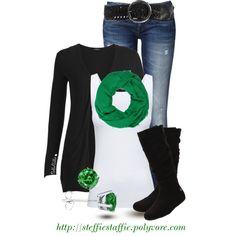 """Black & Green"" by steffiestaffie on Polyvore(minus the earrings & scarf)"