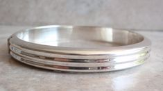 Bangle Bracelet Sterling Silver Lined Ribbed Hinged Stackable Vintage