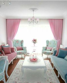 Pastel Living Room Ideas For many people, the palette of pastel shades is too bright, soft and monotonous, often the first choice to organize the living room is a stronger hue that accentuates … Pastel Living Room, Cozy Living Rooms, Home Living Room, Living Room Designs, Living Room Decor, Bedroom Decor, Comedor Shabby Chic, Muebles Shabby Chic, Shabby Chic Homes