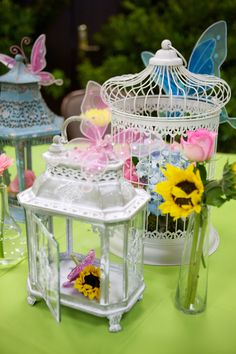 Fairy Birthday Party, adult table centerpieces