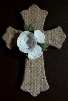 Burlap Cross with Felt Flowers