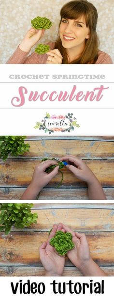 Learn to make easy crochet succulents in any size! Free video tutorial from Sewrella