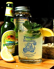 Jamaican Style Shine...if you like Moscow Mules, try this out!  2 oz. Palmetto Moonshine 2 oz. ginger beer ¾ oz. fresh lemon juice 1 oz. simple syrup Ice candied ginger or fresh mint,optional