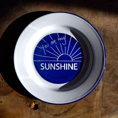 You Are My Sunshine Enamel Plate - Dark Blue