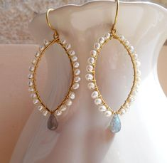 Colette bridal gemstone beaded marquise hoop earring white gray flash labradorite freshwater pearl gold fill June birthstone mother day gift