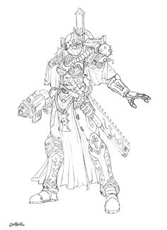 Warhammer 40K Female Sister of Battle Captain - concept for miniature by HeresyLab.com