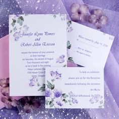 country style purple morning glory spring wedding invitations EWI088 as low as $0.94
