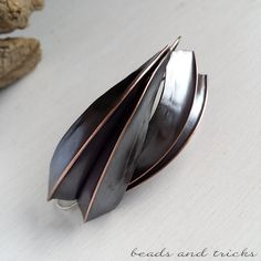 Foldforming, Plunkett fold earrings in copper and sterling silver | Handmade by Beads and Tricks