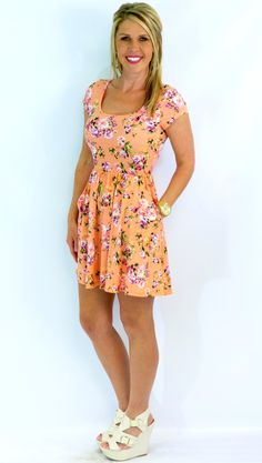 Floral Pocket Dress: Peach