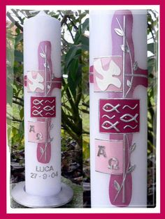Taufkerze pink