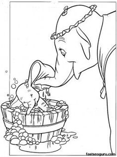 Coloring pages Disney Characters Dumbo and Mrs Jumbo - Printable Coloring Pages For Kids