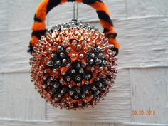 SALE:  Spooktacular Fun Sequined Jack-o-Lantern Candy Bucket Ornament by NanaJansXmasCrafts on Etsy