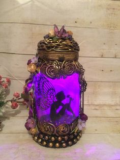 Excited to share this item from my #etsy shop: Handmade silhouette 8 inch beautiful fairy jar . Fairy Jars, Power Colors, Color Changing Lights, Lilac, Purple, T Lights, Beautiful Fairies, Color Change, Mystic