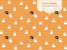 Ghost Pattern { Orange x Stripe } #Halloween  http://prettypoodle.blogspot.jp/2013/10/ghost.html