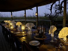 Little Vumbura Camp is located on a riverine island within the Okavango Delta. Offering a high standard of accommodation and dinning under the stars. Okavango Delta, Tour Operator, Beautiful Islands, Table Settings, The Incredibles, Camping, Table Decorations, Dining, Africa