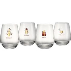 Bring brilliant style to your holiday gatherings with the Tidings Stemless Wine Glasses from Artland. The lovely glasses each feature a different holiday sentiment: Merry, Shine, Joy, and Cheer, and are accented with a festive design in red and gold. Glass Milk Bottles, Wine Glass Set, Wine Bottles, Stemless Wine Glasses, Champagne Glasses, Christmas Wine Glasses, Vintage Bee, 3 D, Mint
