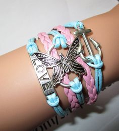 anchor braceletbutterfly braceletbridesmaid by Youchic on Etsy, $5.19