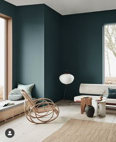 Yay or Nay: Moody Green Interiors A moody green wall color with organic modern meets eclectic furniture. Green Painted Walls, Dark Green Walls, Room Colors, Wall Colors, Colours, Green Wall Color, Green Interior Design, Color Interior, Eclectic Furniture